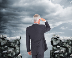 Composite image of rear view of mature businessman looking away